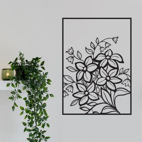 Sticker mural encadré fleurs