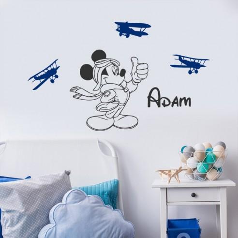 Sticker Mickey avion avec prénom