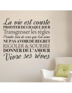 stickers citation : La vie est courte