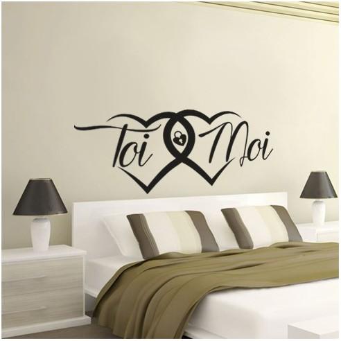 sticker d coration toi et moi stickers muraux t te de lit pas cher. Black Bedroom Furniture Sets. Home Design Ideas