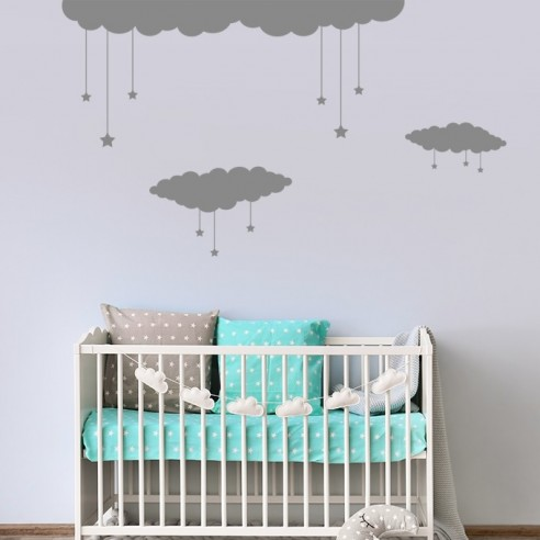 Stickers décor nuages étoiles