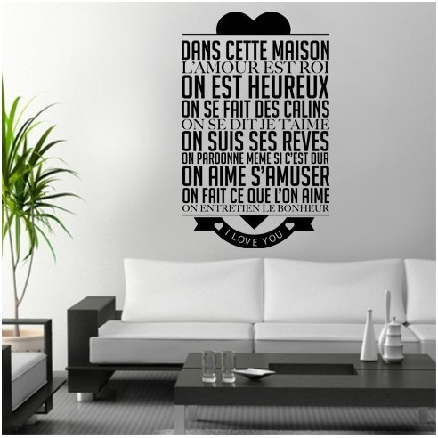 stcikers citation dans cette maison l 39 amour est roi. Black Bedroom Furniture Sets. Home Design Ideas