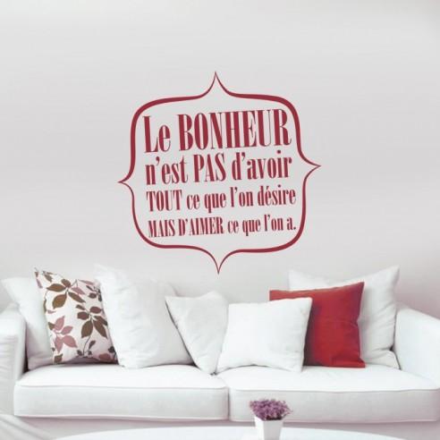 stickers citation sur le bonheur