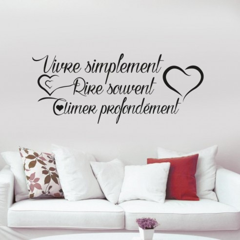 stickers citation vivre simplement rire souvent aimer profond ment. Black Bedroom Furniture Sets. Home Design Ideas