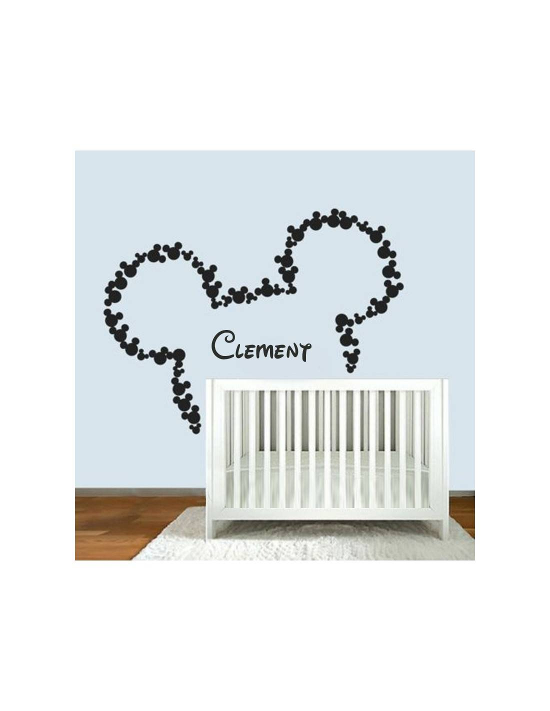 stickers muraux t te de mickey personnaliser. Black Bedroom Furniture Sets. Home Design Ideas