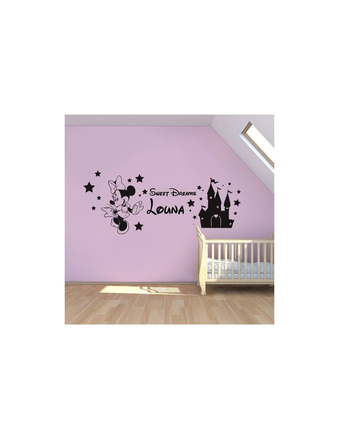 stickers ch teau de minnie personnalis avec pr nom enfant. Black Bedroom Furniture Sets. Home Design Ideas