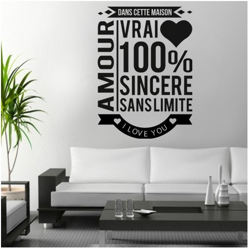 Sticker romantique sur le th me de l 39 amour stickers for Stickers dans cette maison