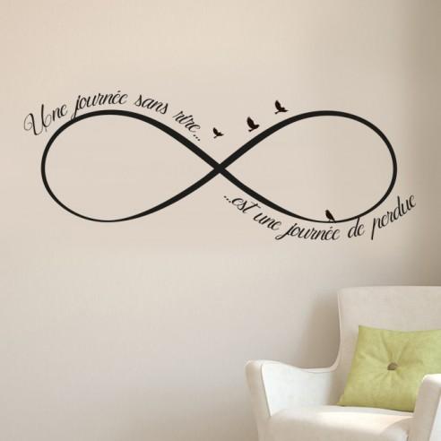stickers muraux citation une journ e sans rire est une journ e perdue. Black Bedroom Furniture Sets. Home Design Ideas