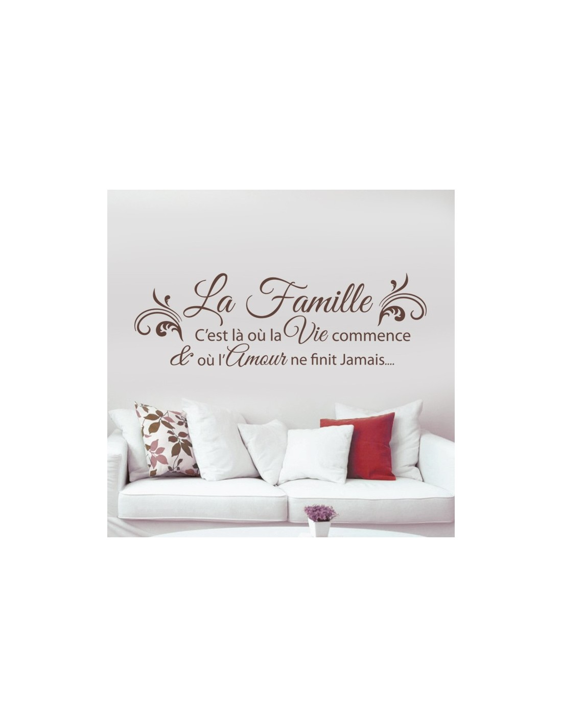 stickers citation th me famille et amour la famille c 39 est l o. Black Bedroom Furniture Sets. Home Design Ideas