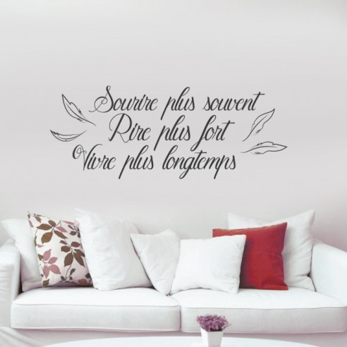 stickers muraux citation courte sourire plus souvent rire plus fort. Black Bedroom Furniture Sets. Home Design Ideas