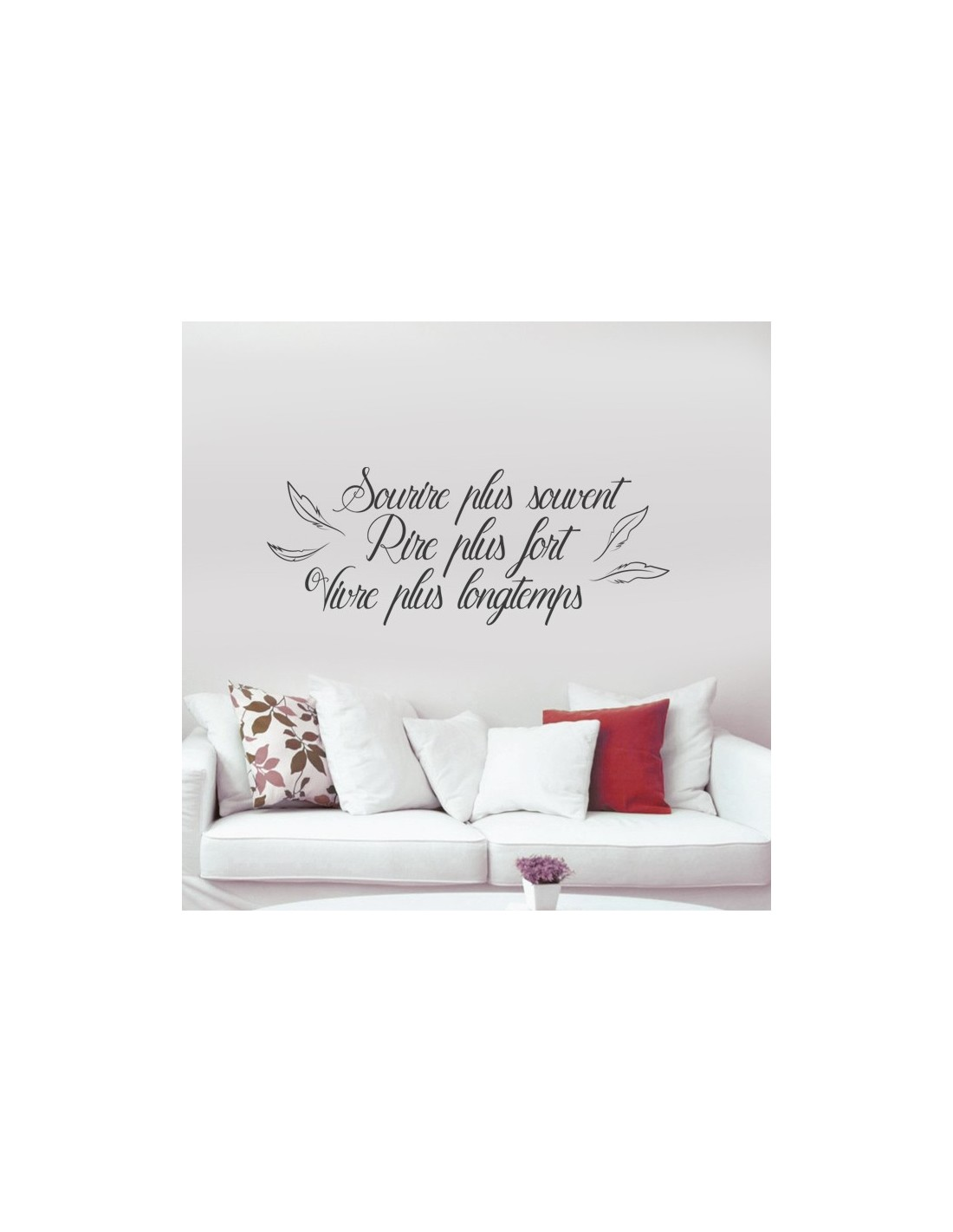 Stickers muraux citation courte sourire plus souvent rire plus fort - Stickers muraux personnalises ...