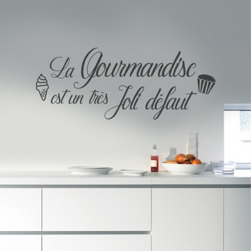 stickers muraux citation cuisine la gourmandise est un tr s joli. Black Bedroom Furniture Sets. Home Design Ideas
