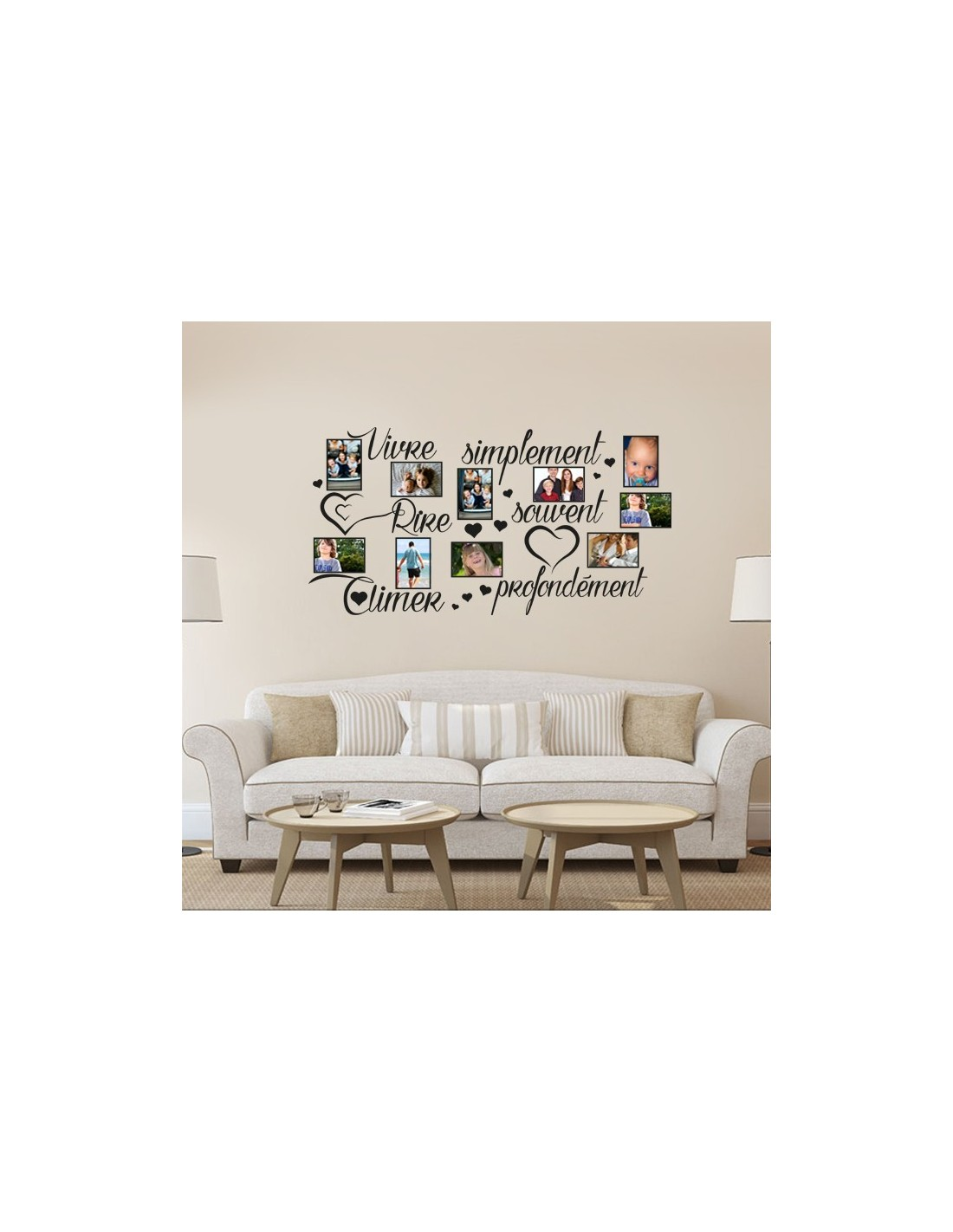 stickers d co mural cadre photos cadre photos amour. Black Bedroom Furniture Sets. Home Design Ideas