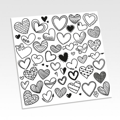 Planche stickers coeurs