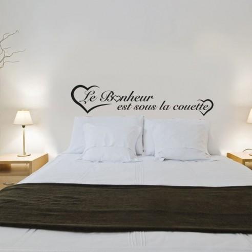 stickers le bonheur est sous la couette stickers muraux d coration. Black Bedroom Furniture Sets. Home Design Ideas