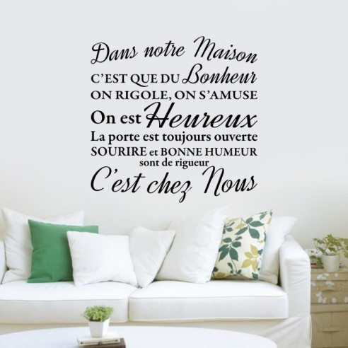 stickers muraux citation stickers texte dans notre maison. Black Bedroom Furniture Sets. Home Design Ideas