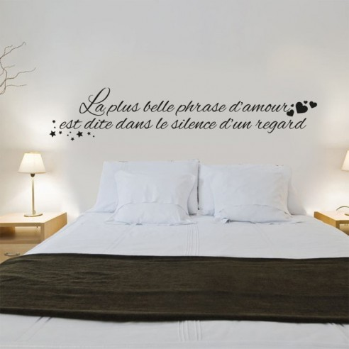 Stickers muraux citation la plus belle phrase for Stickers phrase chambre adulte