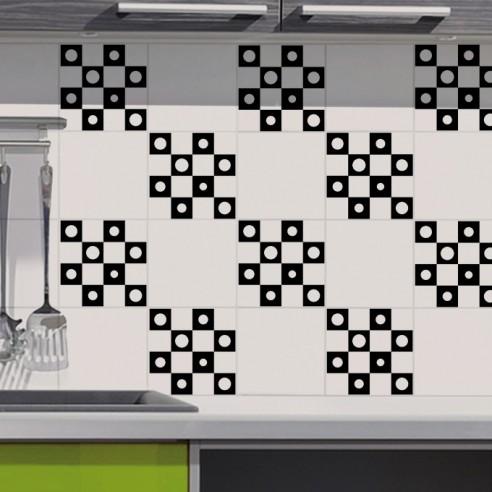 Stickers decoration design pour carrelage cuisine salle for Carrelage adhesif salle de bain avec lit avec tete de lit led