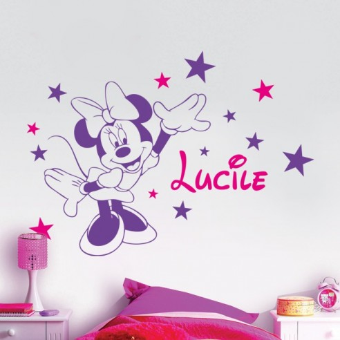 stickers muraux de d coration pour enfant sticker minnie avec pr nom. Black Bedroom Furniture Sets. Home Design Ideas
