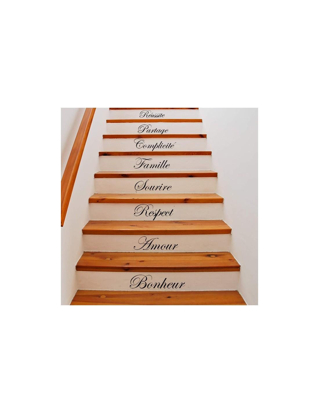 Kit 5 stickers personnalis s pour contremarche d 39 escalier for Longueur d un escalier