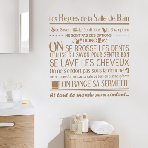 sticker d coration les r gles de la salle de bain stickers mueaux. Black Bedroom Furniture Sets. Home Design Ideas
