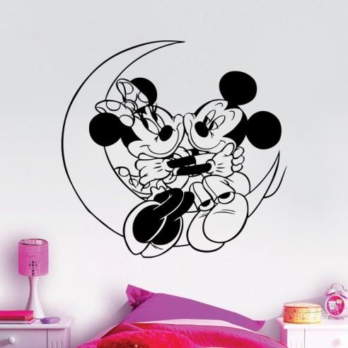 Sticker lune Mickey et Minnie