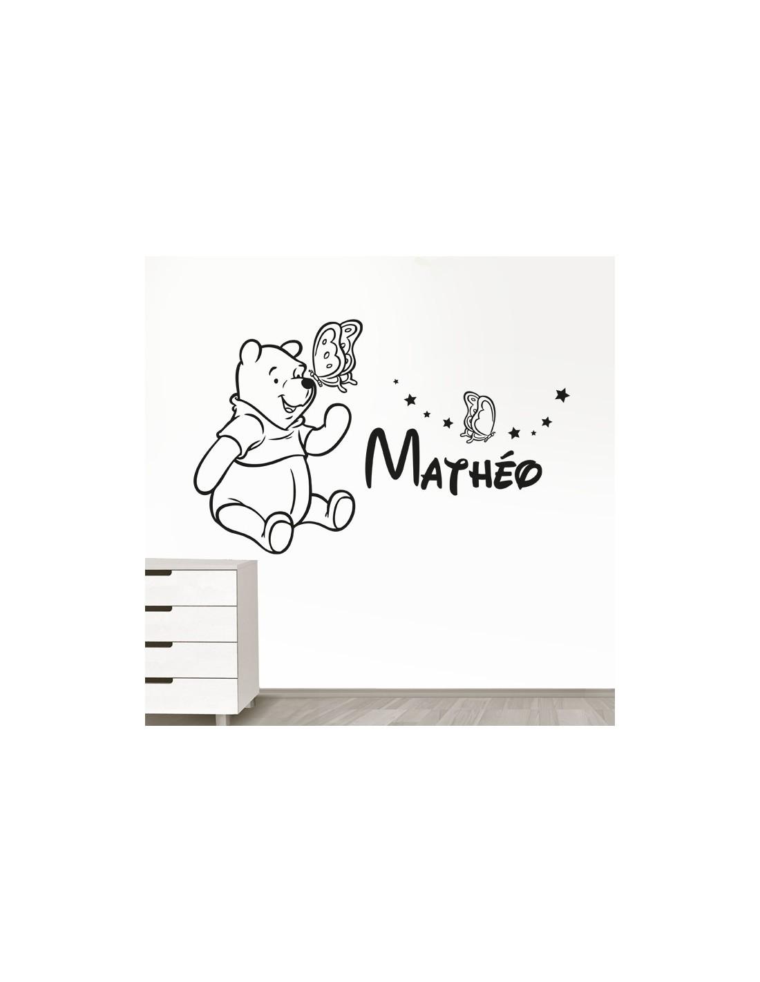 Stickers muraux winnie l 39 ourson sticker winnie avec pr nom enfant - Stickers muraux personnalise ...