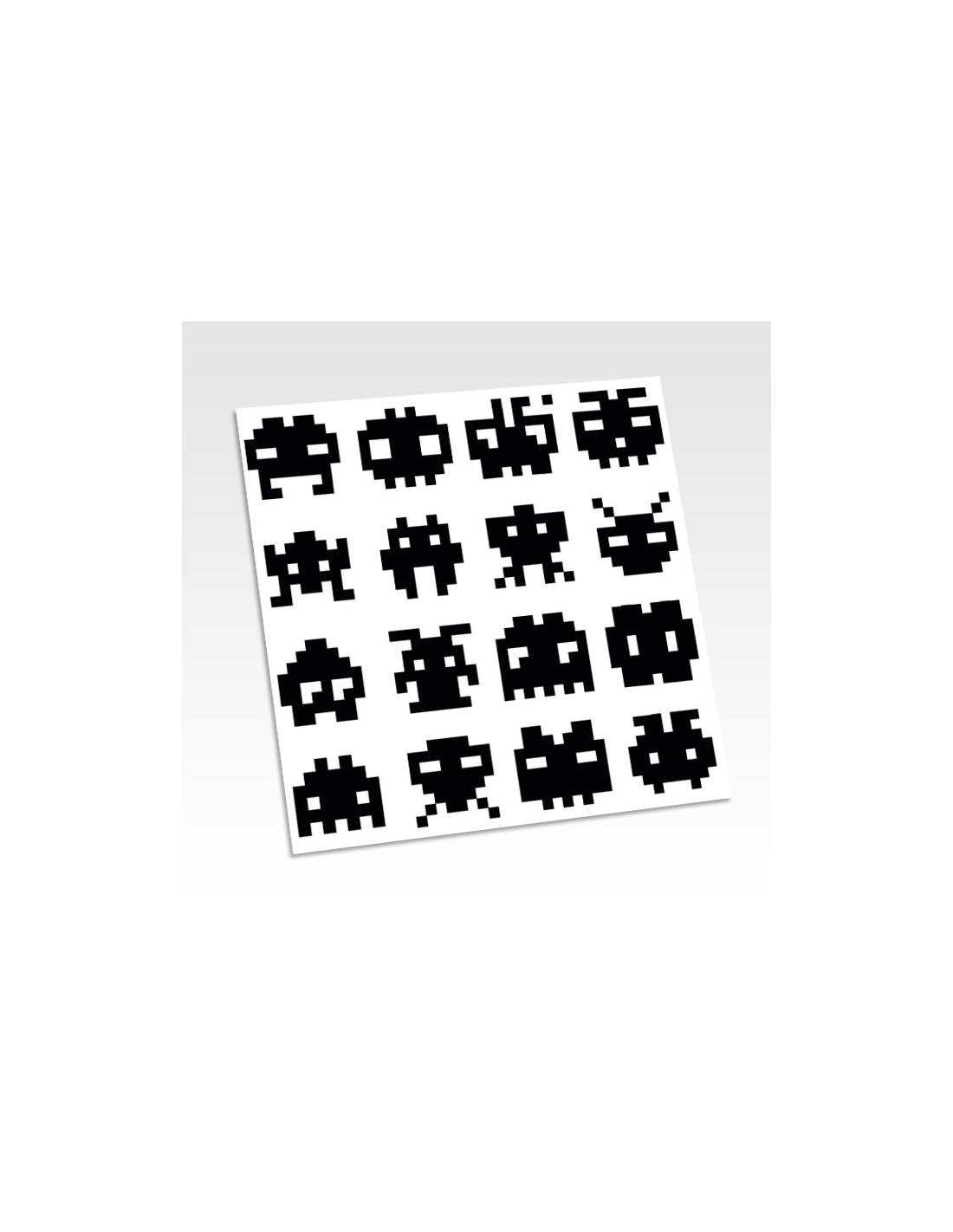 Planche De Stickers Décoration Pixel Art Stickers Muraux