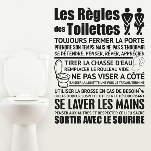 sticker les r gles des toilettes stickers muraux toilettes wc. Black Bedroom Furniture Sets. Home Design Ideas