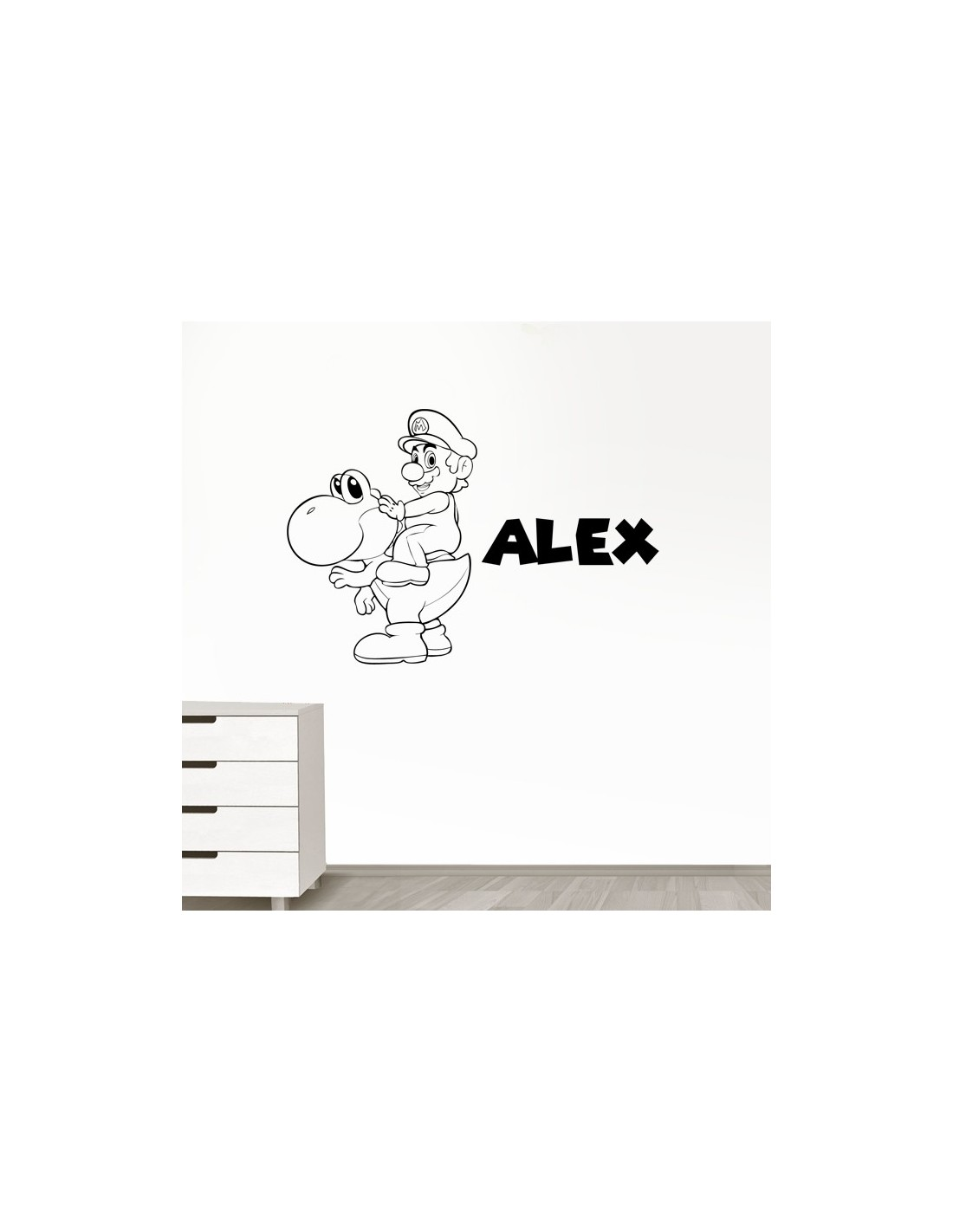 sticker mario et yoshi personnalis avec pr nom stickers enfant. Black Bedroom Furniture Sets. Home Design Ideas