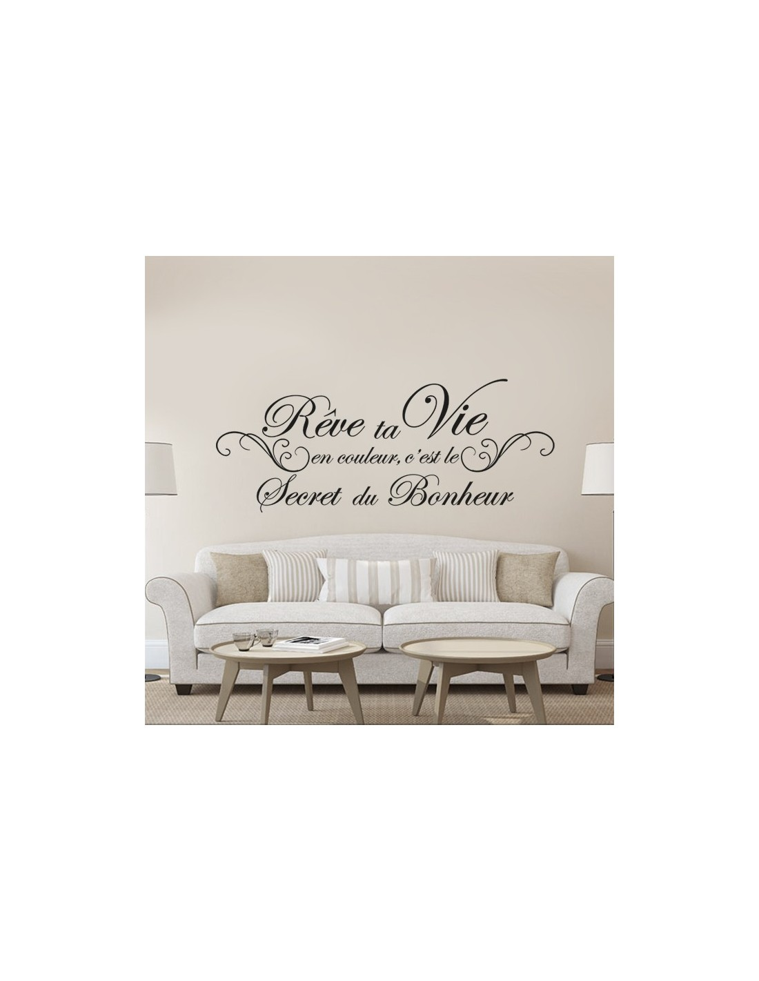 stickers citation r ve ta vie en couleur c 39 est le secret du bonheur. Black Bedroom Furniture Sets. Home Design Ideas