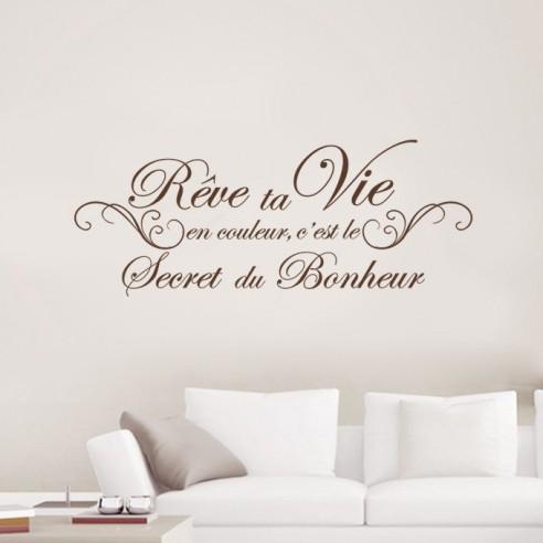 stickers citation r ve ta vie en couleur c 39 est le secret du bonheur. Black Bedroom Furniture Sets. Home Design Ideas