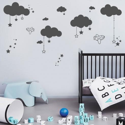 stickers décor corde nuages