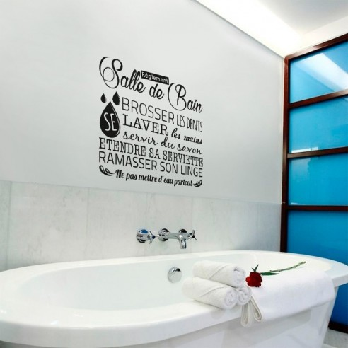 stickers muraux r glement salle de bain stickers d co texte et citation. Black Bedroom Furniture Sets. Home Design Ideas