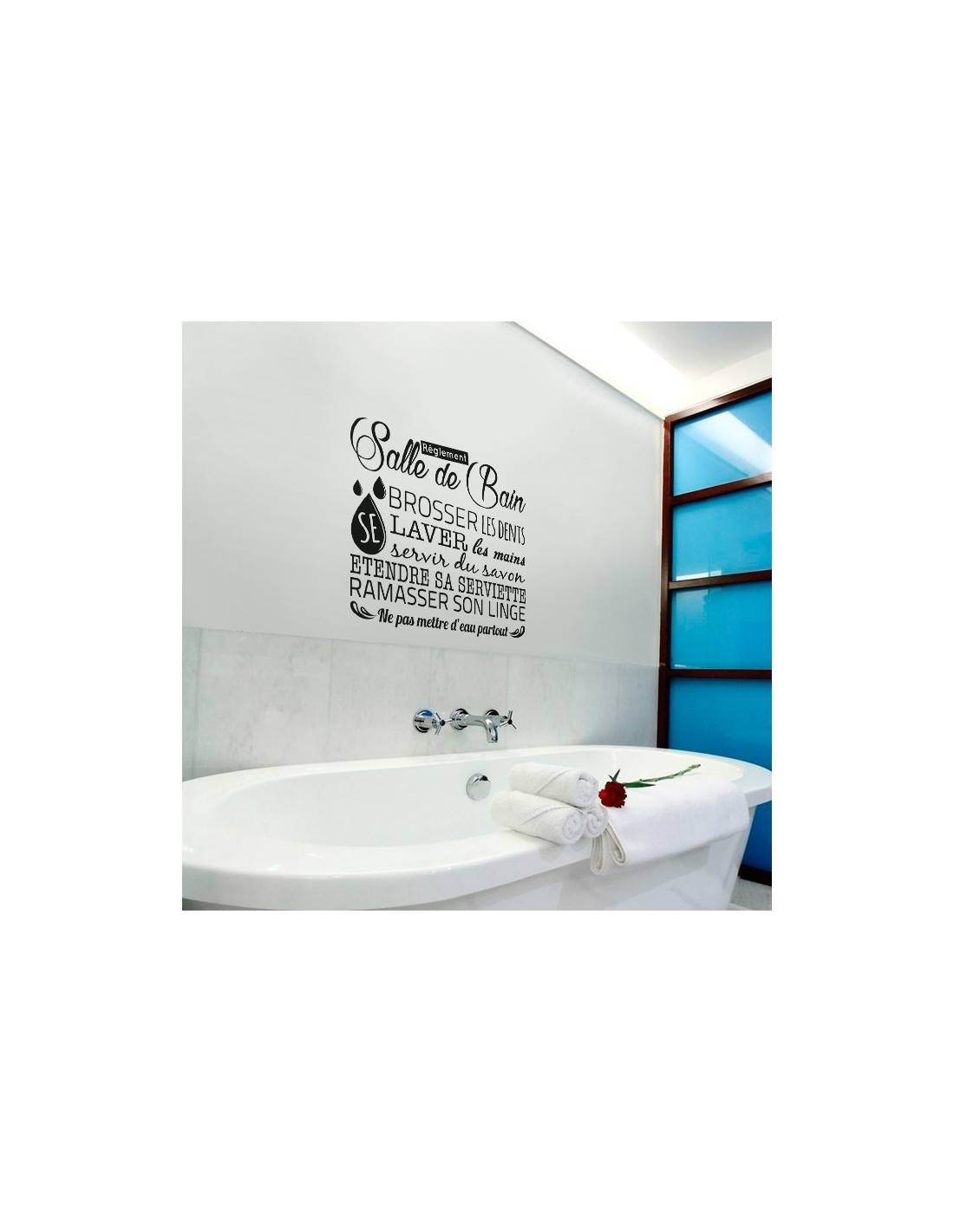 Stickers muraux r glement salle de bain stickers d co for Citation salle de bain