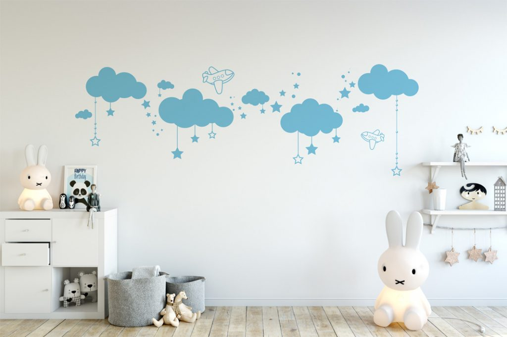 Sticker mural nuages