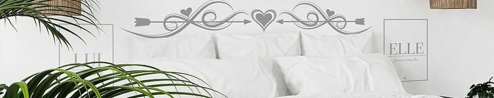 Stickers chambre à coucher : tête de lit, citation, motifs, couple...