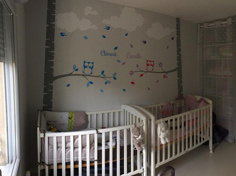 décoration chambre jumeaux fille et garçon