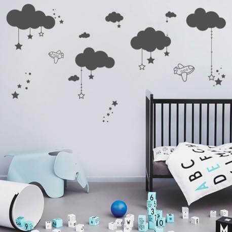 Stickers nuages décoration bébé